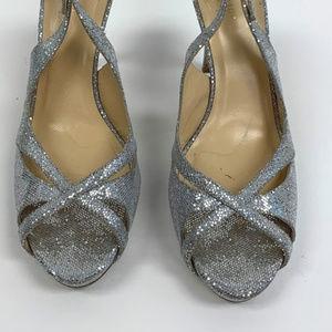kate spade light silver peep toe slingbacks